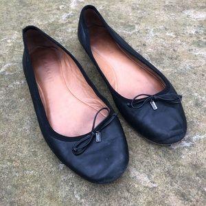 Coach Black Simple Leather Ballet Bow Flats 9